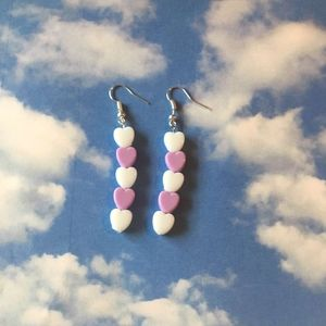 white and light purple pastel heart drop earring